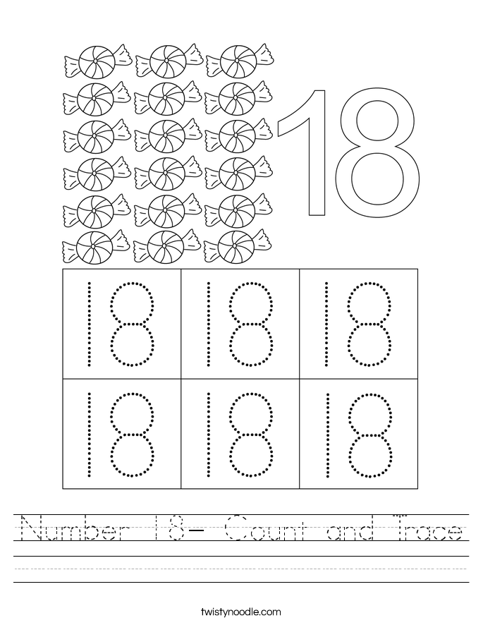 Number 18- Count and Trace Worksheet