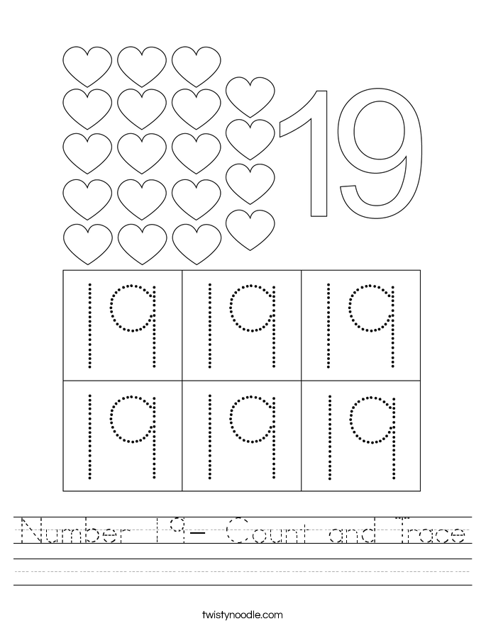 Number 19- Count and Trace Worksheet