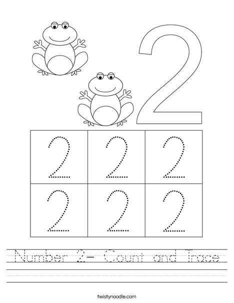 Number 2- Count and Trace Worksheet