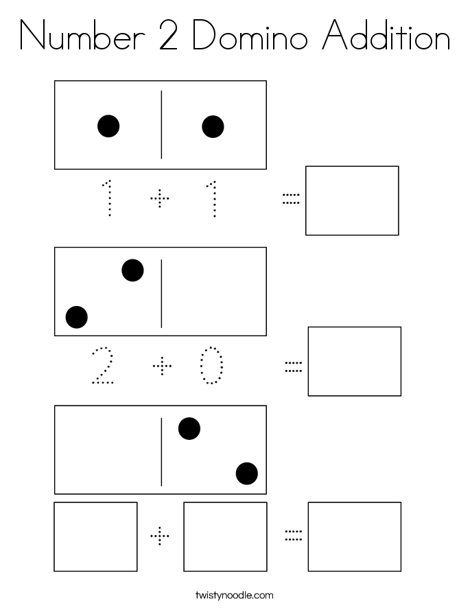 Number 2 Domino Addition Coloring Page
