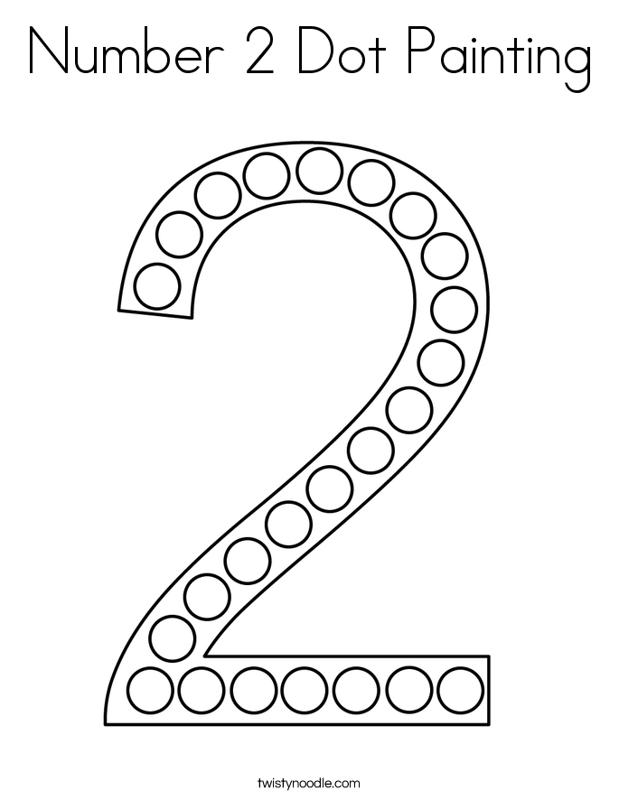 Number 2 Dot Painting Coloring Page