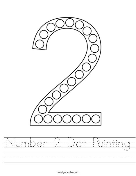Number 2 Dot Painting Worksheet