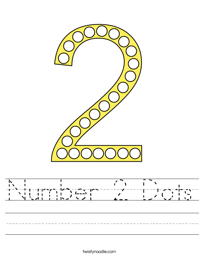 Number 2 Dots Worksheet