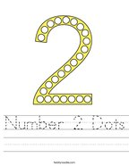 Number 2 Dots Handwriting Sheet