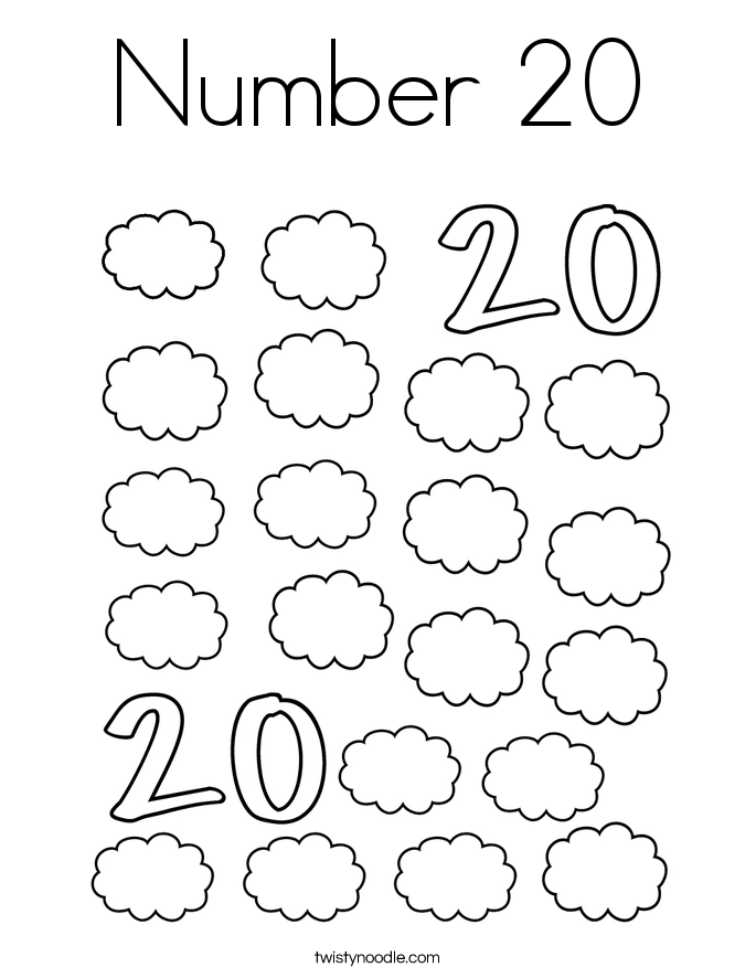 Number 20 coloring page twisty noodle for Number coloring pages 1 20 pdf