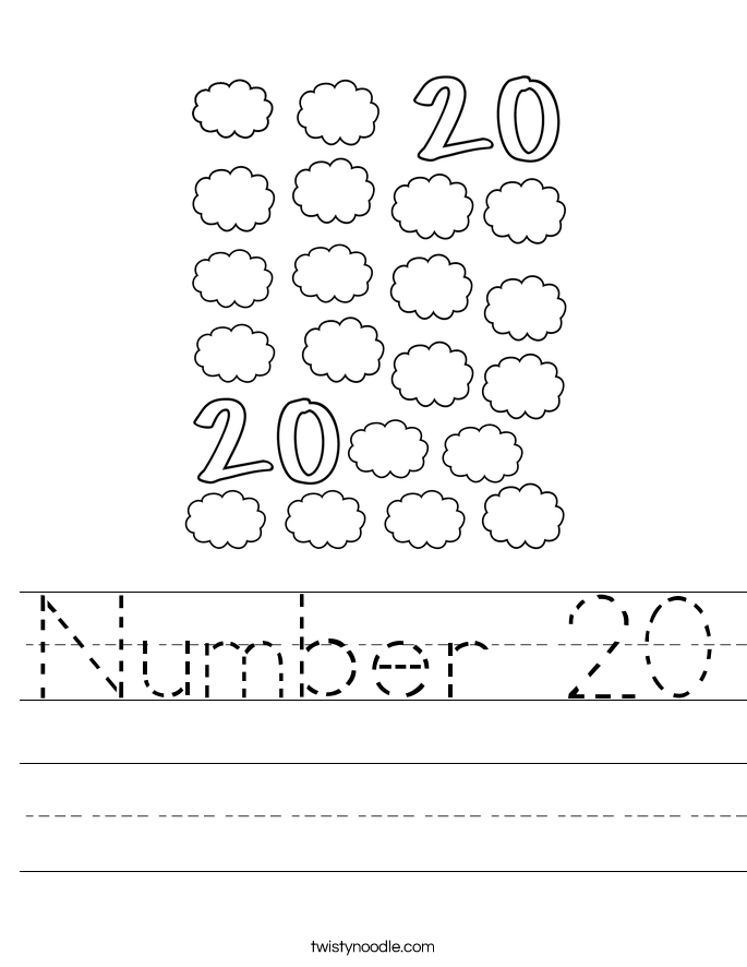 Number 20 Worksheet - Twisty Noodle