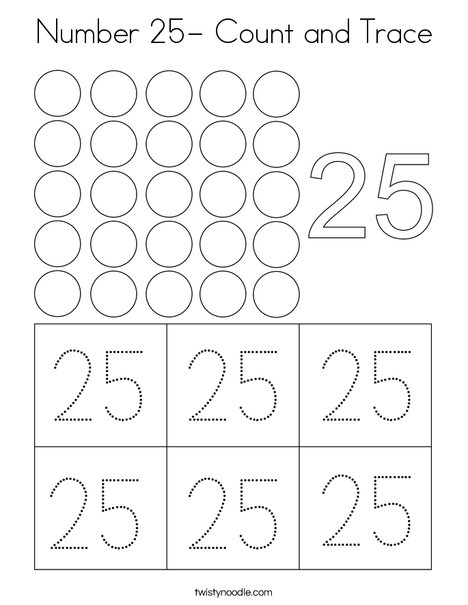 Number 25- Count and Trace Coloring Page