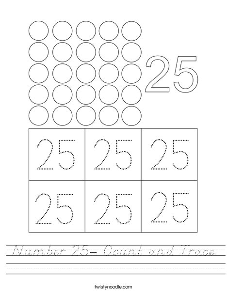 Number 25- Count and Trace Worksheet