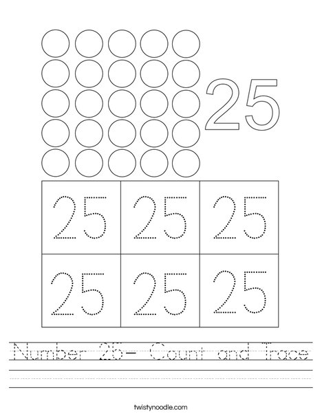 Number 25- Count And Trace Worksheet - Twisty Noodle