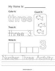 Number Three Activity Handwriting Sheet