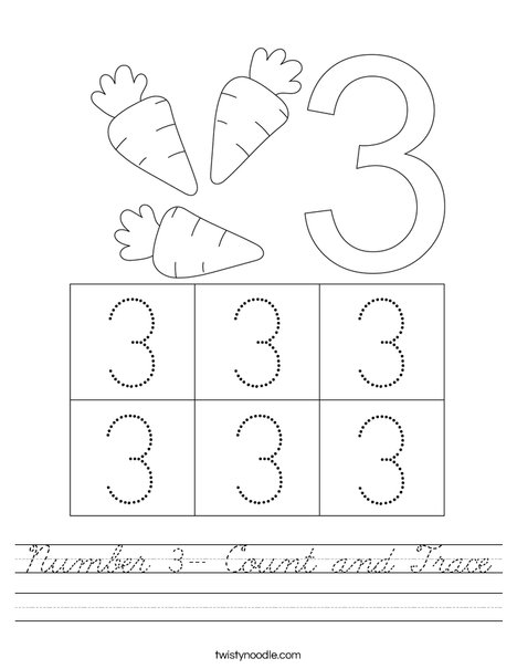 Number 3- Count and Trace Worksheet