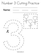 Number 3 Cutting Practice Coloring Page