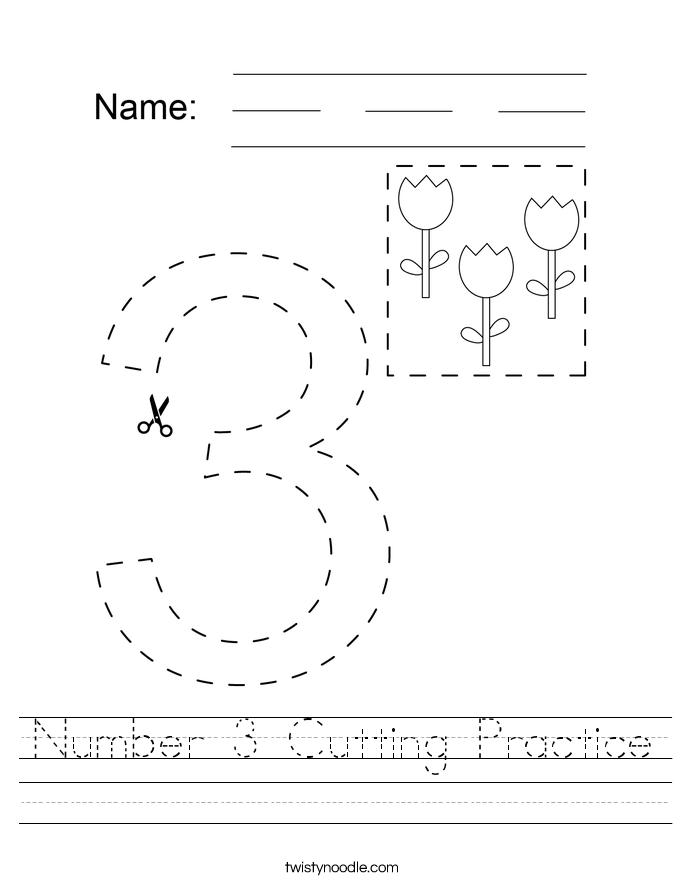 Number 3 Cutting Practice Worksheet
