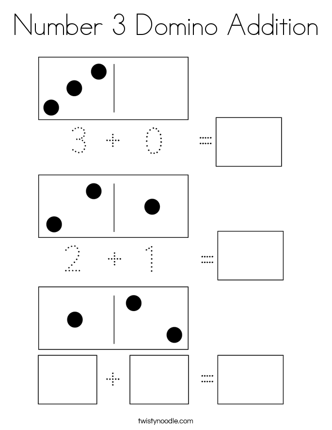 Number 3 Domino Addition Coloring Page