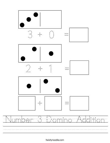 Number 3 Domino Addition Worksheet
