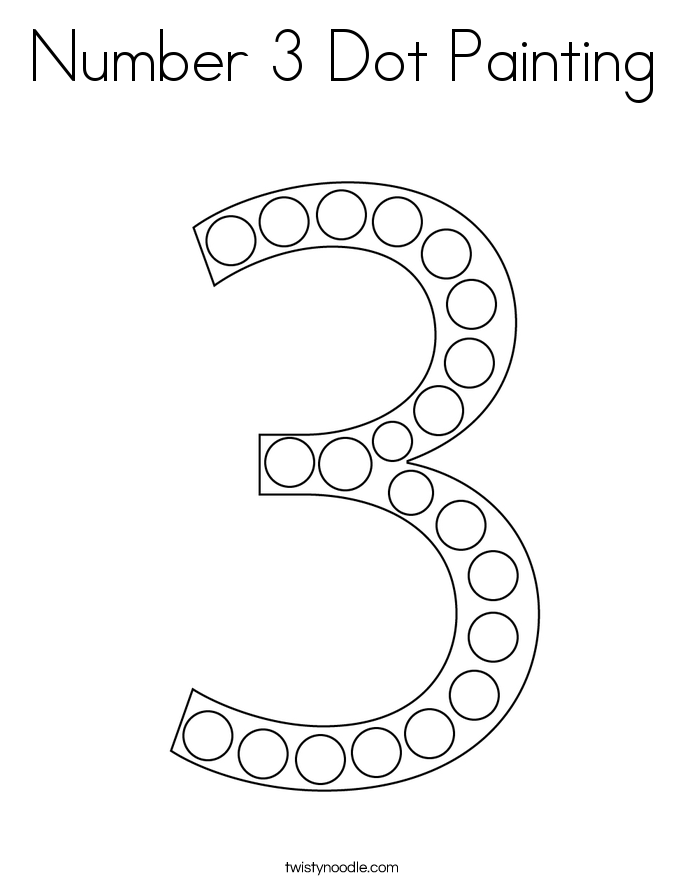 Number 3 Dot Painting Coloring Page