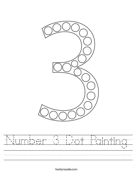 Number 3 Dot Painting Worksheet