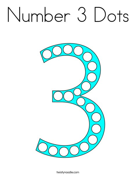 Number 3 Dots Coloring Page
