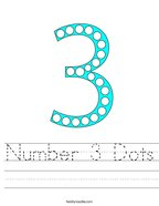 Number 3 Dots Handwriting Sheet