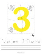 Number 3 Puzzle Handwriting Sheet