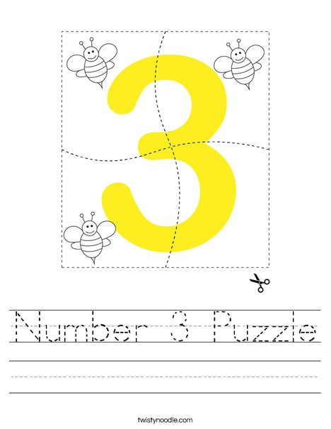 Number 3 Puzzle Worksheet