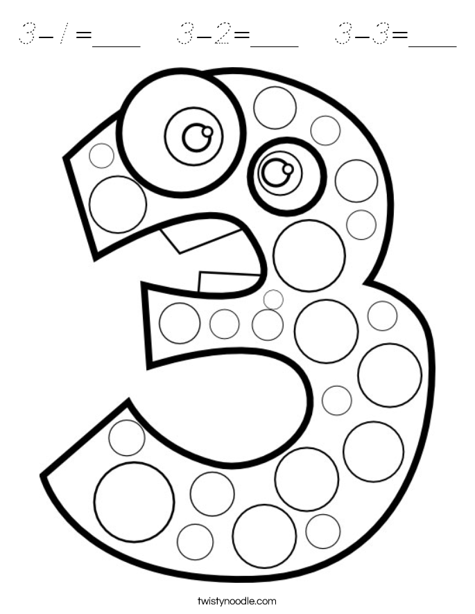 3-1=___   3-2=___   3-3=___ Coloring Page