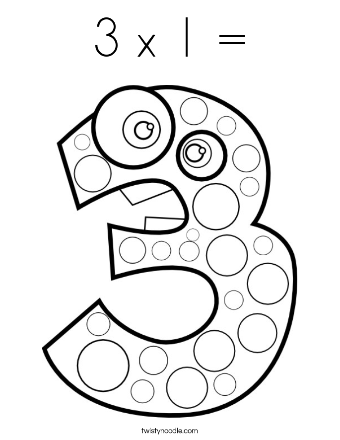 3 x 1 = Coloring Page