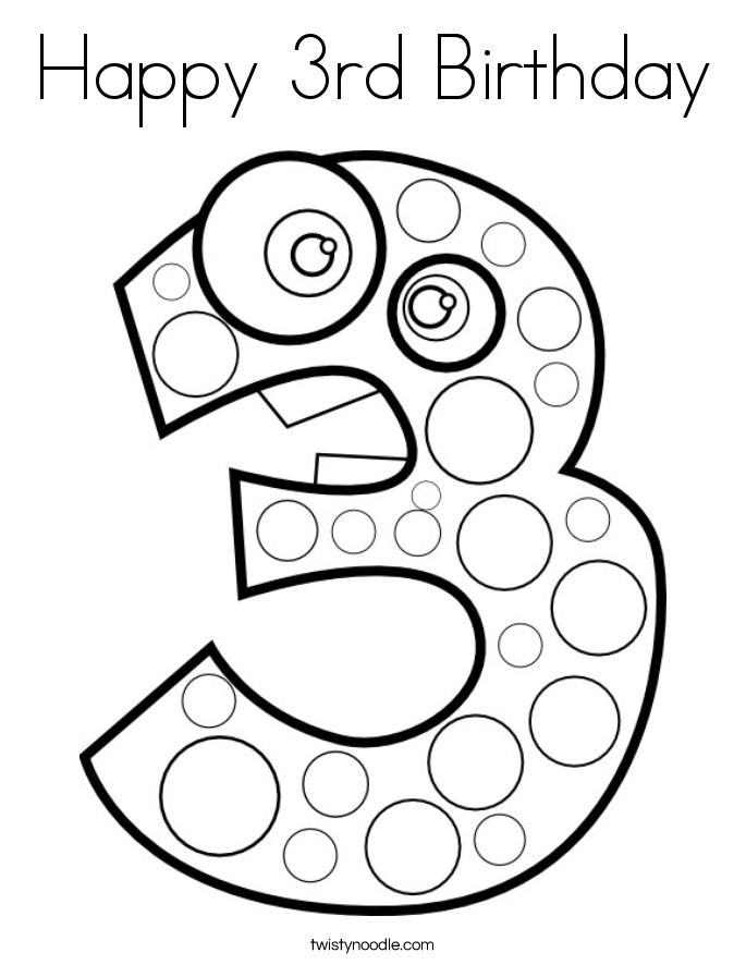number 3 coloring pages. Happy 3rd Birthday Coloring Page Number 3 Pages  Twisty Noodle
