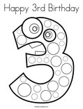 Happy 3rd Birthday Coloring Page