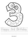 Happy 3rd Birthday Worksheet