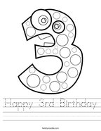Happy 3rd Birthday Handwriting Sheet