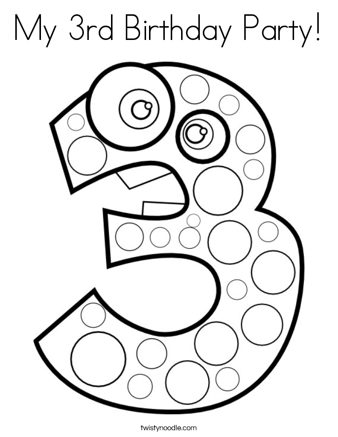 My 3rd Birthday Party! Coloring Page