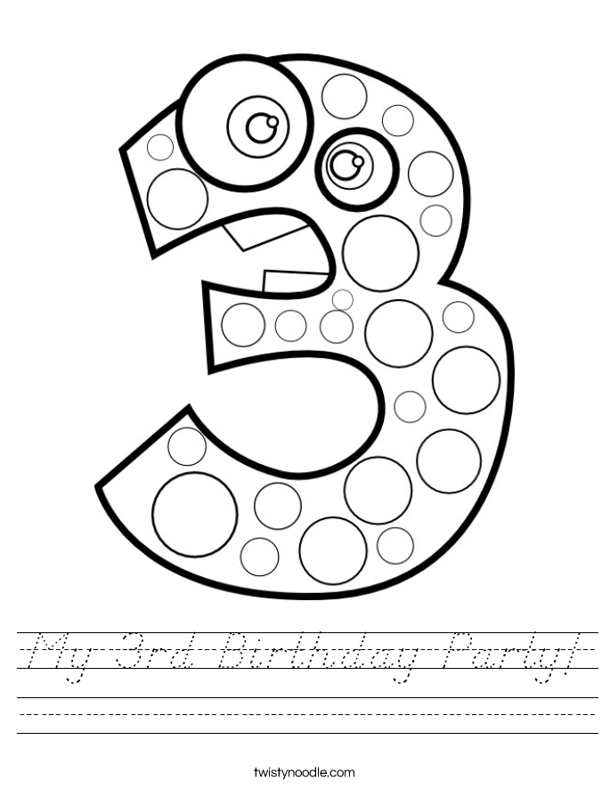 My 3rd Birthday Party! Worksheet