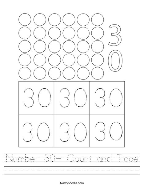Number 30- Count and Trace Worksheet