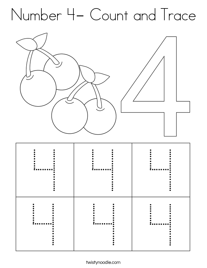Number 4- Count and Trace Coloring Page