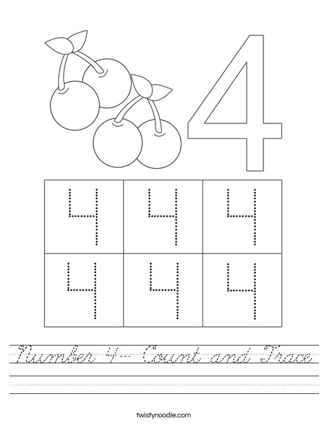Number 4- Count and Trace Worksheet