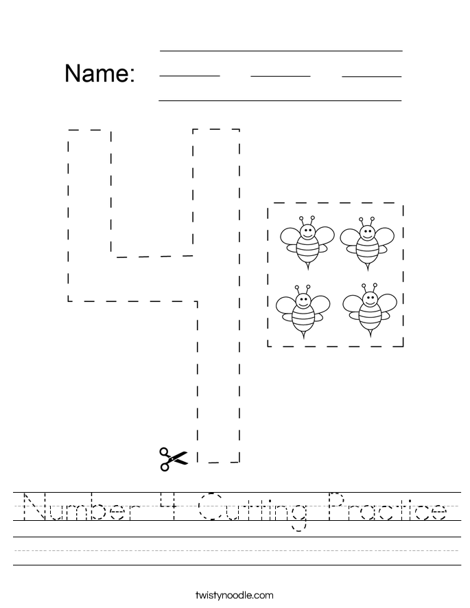 Number 4 Cutting Practice Worksheet
