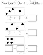Number 4 Domino Addition Coloring Page