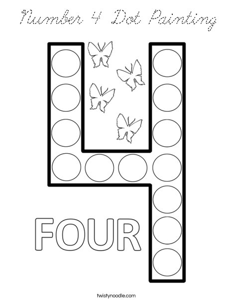 Number 4 Dot Painting Coloring Page