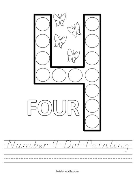 Number 4 Dot Painting Worksheet