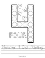 Number 4 Dot Painting Handwriting Sheet