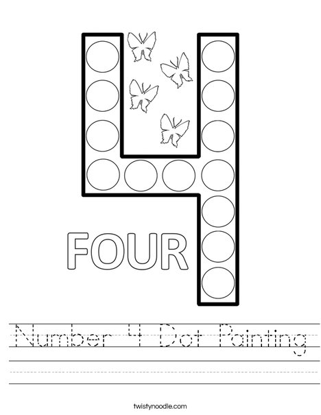 Number 4 Dot Painting Worksheet - Twisty Noodle