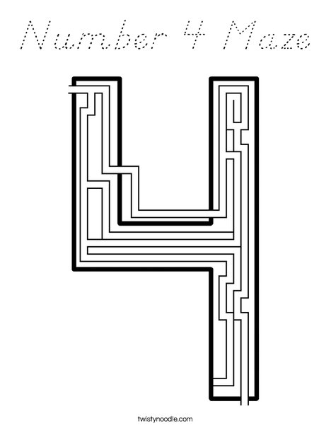 Number 4 Maze Coloring Page
