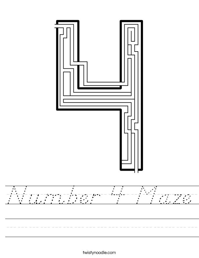 Number 4 Maze Worksheet