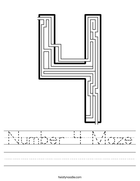 Number 4 Maze Worksheet