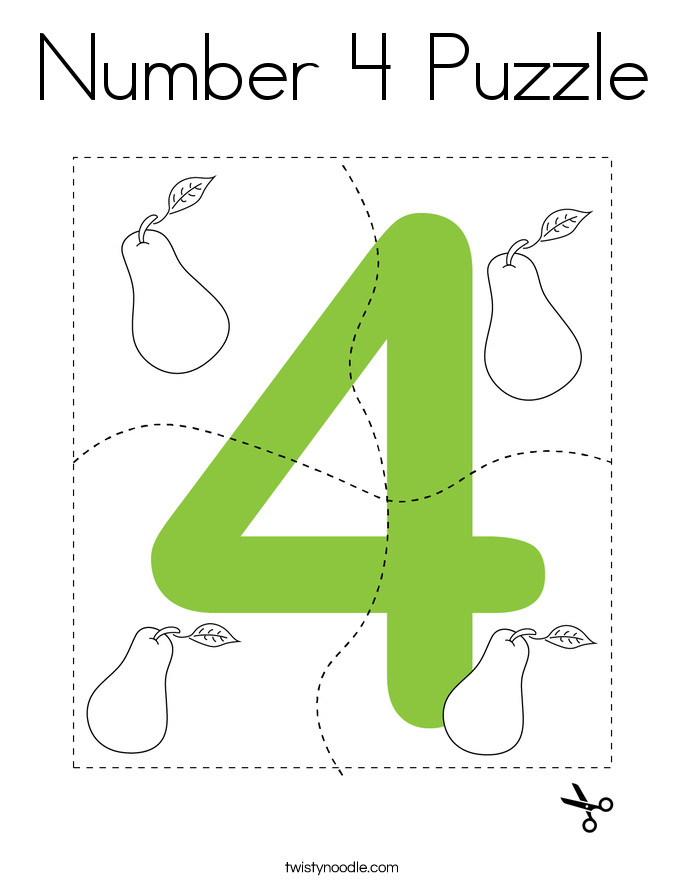 Number 4 Puzzle Coloring Page