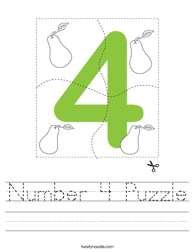 Number 4 Puzzle Worksheet