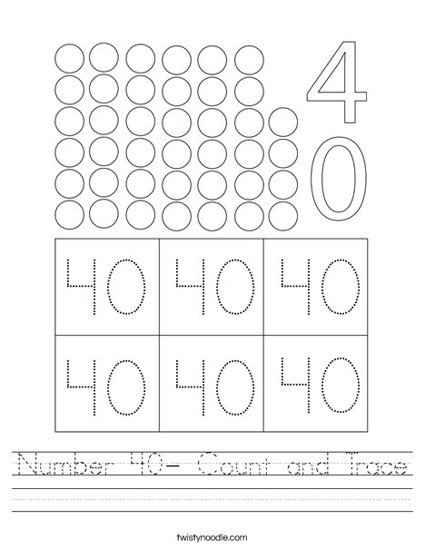 Number 40- Count and Trace Worksheet