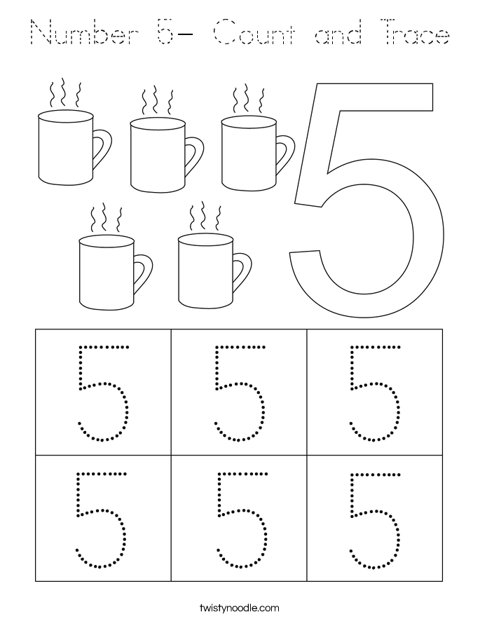 Number 5- Count and Trace Coloring Page