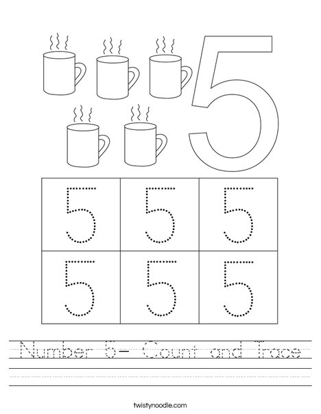 Number 5- Count and Trace Worksheet